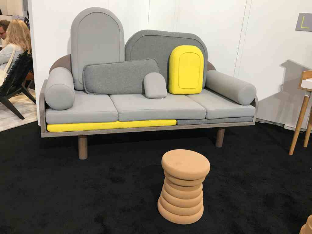 The Couchino sofa by Margaux Keller from Le Point D on exhibit at ICFF. One of my favorite design finds for its playful nod to The Memphis Group. Photo Credit: The Design Tourist.