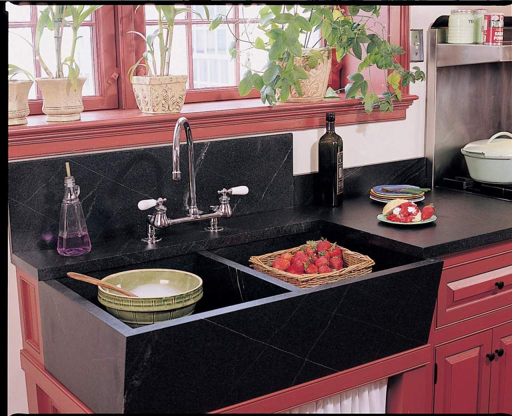 Traditional High Backsplash Soapstone Sink custom crafted by Vermont Soapstone from 1.25″ thick soapstone slabs.