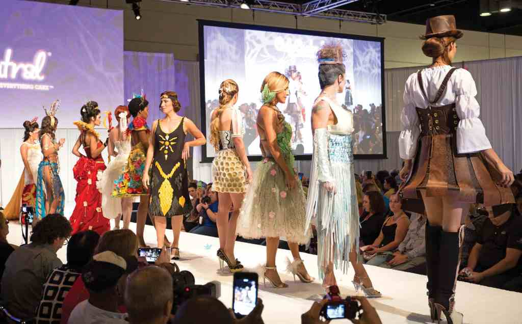 Models wear outfits designed of sugar, chocolate and other sweet ingredients for the Sugar Art Fashion Show. photo credit: The Americas Cake Fair