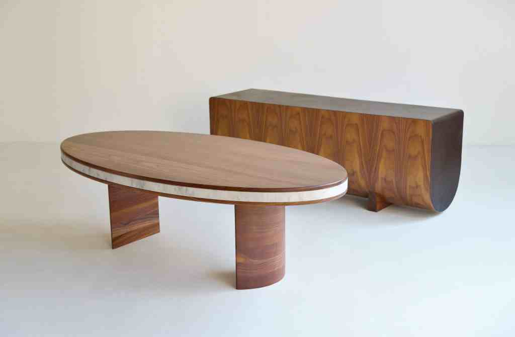 Caterpollar bench and layered oval coffee table by Shuya Design
