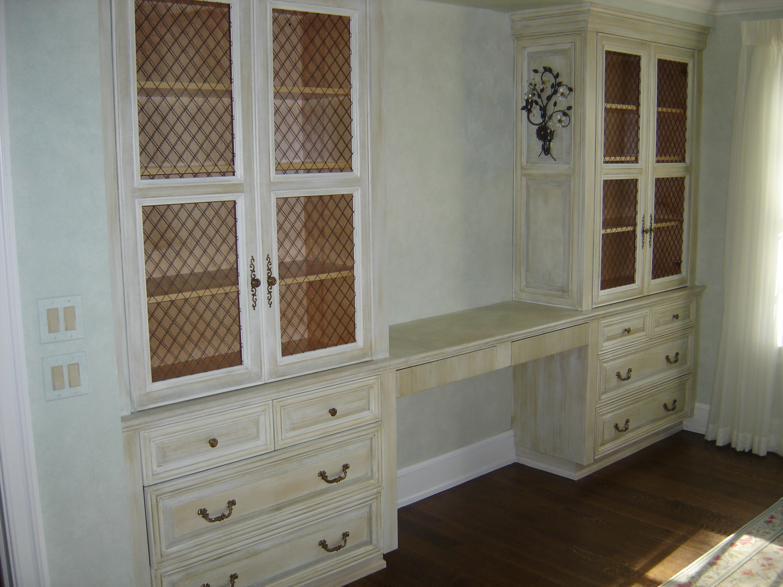 Built-in Bedroom Vanity W/ Custom Antique Painted Finish