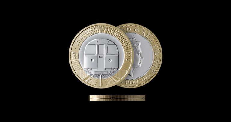 The new two pound coin features a tube train, designed by Barber Osgerby. Image: supplied.