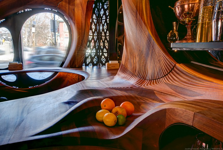 Bar Raval, detail of timber curves. Photo: Jonathan Friedman