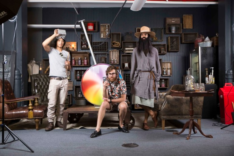 The artist Evan Yee poses with Fuelled Collective founders Ryan Matzner and Rameet Chawla. Image: Fuelled Collective