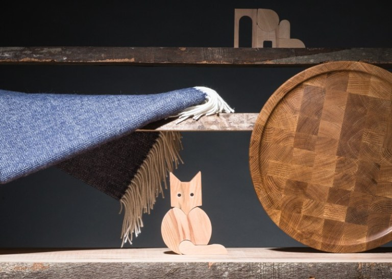 Atlantic Herringbone Throw by Foxford Woollen Mills, Fox & Rabbit and Bellevue Folly puzzle by Saturday Workshop, Multi purpose oak board by Tony Farrell. Photo: supplied