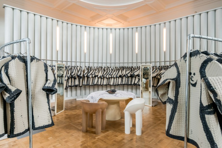 Coats are made of Kvadrat fabric at The Cloakroom by Faye Toogood. Photo: supplied