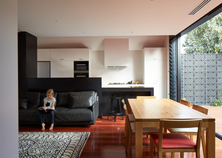 Living space, Camino House, designed by Bosske. Photo: Peter Bennetts