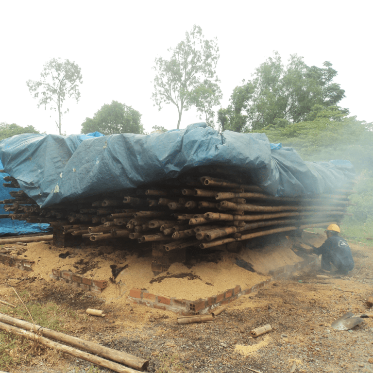 Bamboo being smoked. Image: supplied