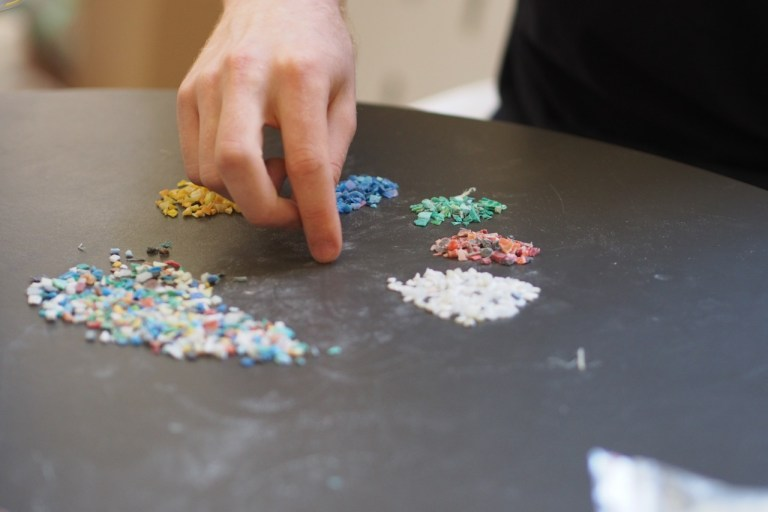 Sorting marine plastic waste for Bento Box designed by Andrew Simpson and Sarah K. Image: supplied