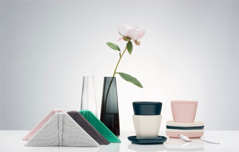 Iittala X Issey Miyake glass, ceramic textiles. Image: supplied