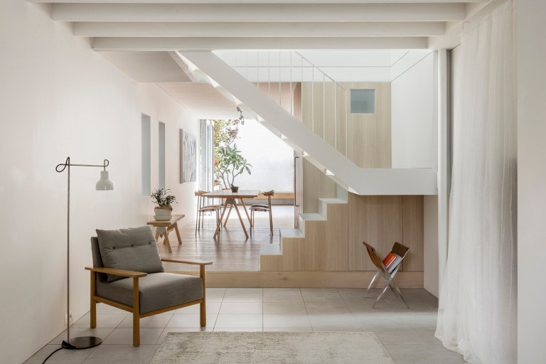 Living through to stairs and kitchen, Surry Hills Terrace by Benn & Penna. Photo: Tom Ferguson