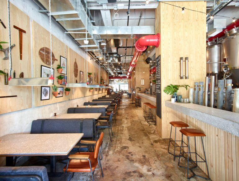 Entry and bar at Little Creatures Hong Kong by Charlie & Rose. Image: supplied