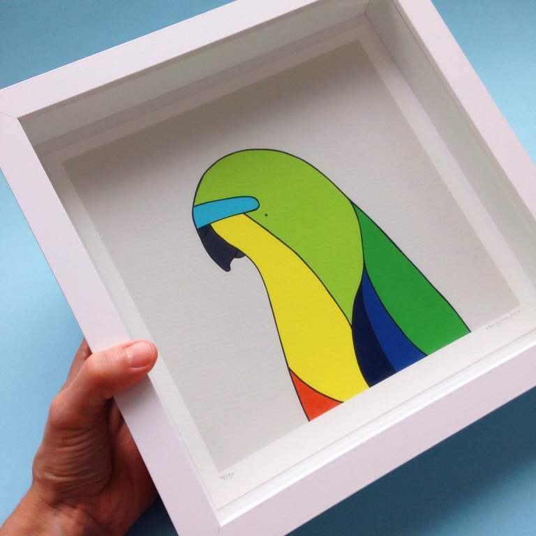 The Orange-Bellied Parrot print designed by Egg Picnic. Photo: supplied