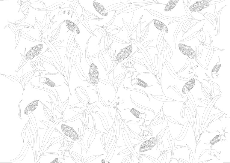 Banksia and geckos pattern by Australian designer Penelope Forlano. Read more on The Design Writer blog