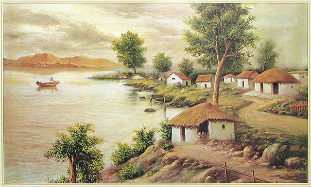 This image has an empty alt attribute; its file name is indian_villages_paintings_beach_nature_hut_street_agriculture_1.jpg