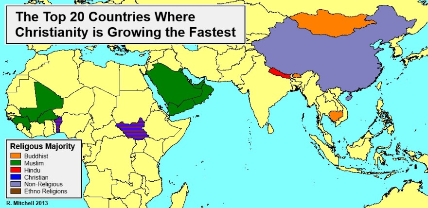 top-20-countries-where-christianity-is-growing-the-fastest-map