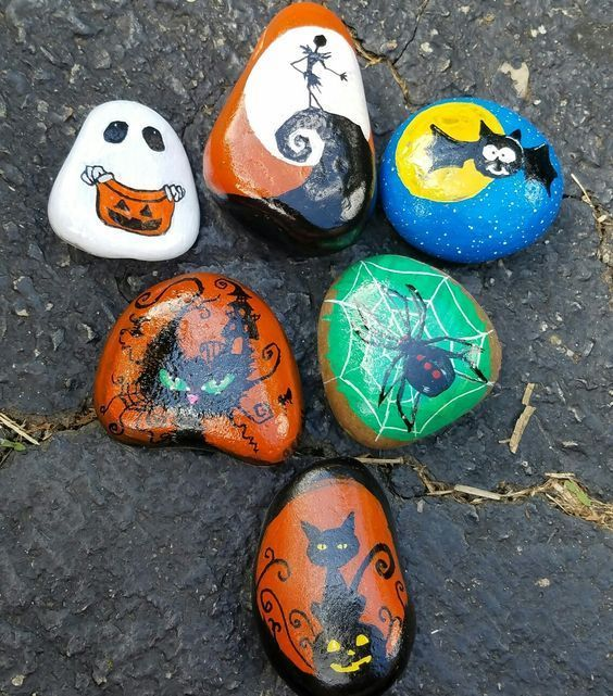 Take a nod from jack black. 80 Scary Halloween Painted Rock Ideas