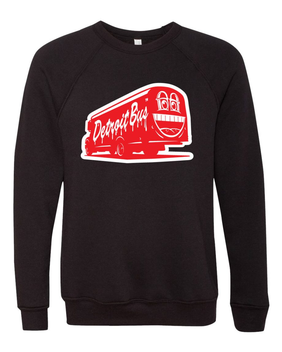 Black sweatshirt with red and white illustrated tour bus showing large cartoon smile on the back
