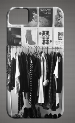 Hanging clothing and magazine cutouts