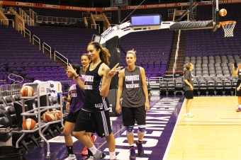 Brittney Griner poses for the cameras as she gets a drink of water. Photo by Olivia Rendon