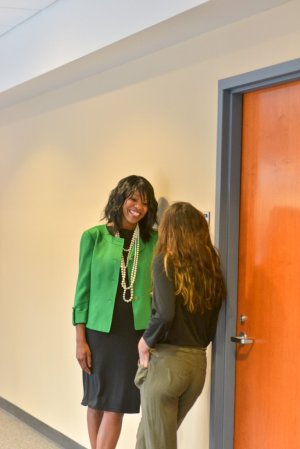 Dean Ransom with a student outside the August 12 meeting of the Board of Trustees (PHOTO: Shane Wynn)