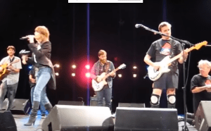 Blurry screenshot from a video of Chrissie Hynde, Dan Auerbach of The Black Keys and Mark Mothersbaugh all on stage together at the Civic. (Video by Rachel Roberts, click the photo to watch it)