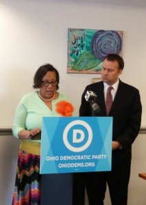 Akron City Councilwoman Veronica Sims and chairman of the Ohio Democratic party, David Pepper