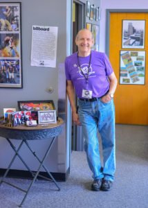 "Wayne Beck, curator of the ""Akron Sound"" Museum standing amidst his collection at Summit Artspace. (PHOTO: theakronsoundmuseum.com)"