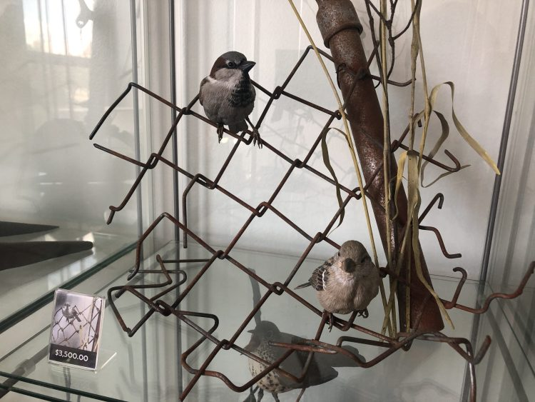 Tom Baldwin's artwork--two birds on wire fence