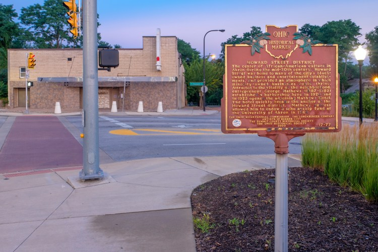 The Ohio Historical Marker for the Howard Street District, located across Howard from The Interbelt. (Photo: Charlotte Gintert/Captured Glimpses)