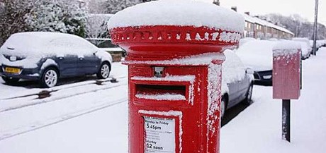 Iconic red British Postbox