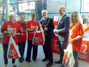 Image shows from left to right: Jayne Mealy (manager), Nikita Beal (volunteer), Nicola Bale (assistant manager), Councillor Dr John Mahony (The Lord Mayor), Greg Lumley (Drakes Circus manager), Adele Richardson (volunteer).