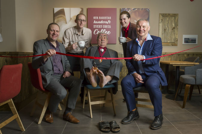 Cutting the ribbon at Crediton Costa Coffee. Courtesy of Guy Harrop
