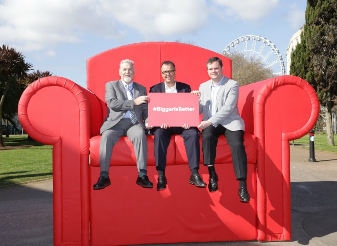Local Cllr Derek Mill, Virgin Media Regional director Maurice Daw and Torbay MP Kevin Foster