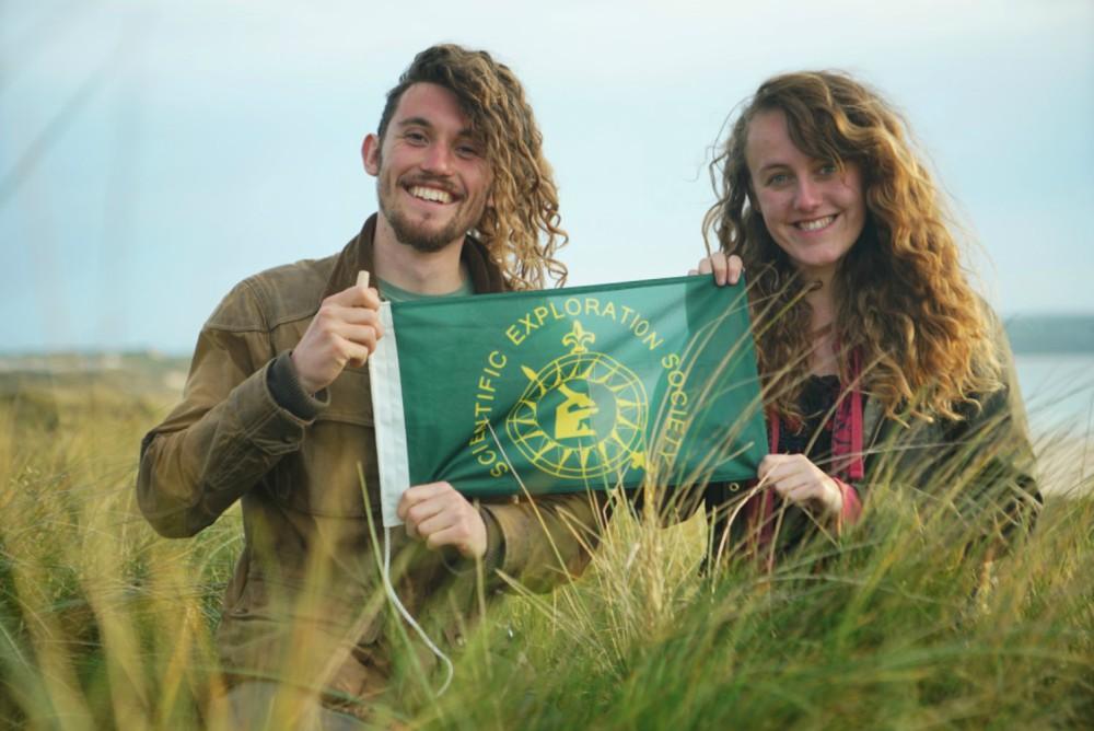 Hannah Pollock and Jamie Unwin with their award