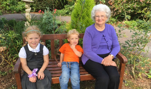 Andrea's mum, Jean, with two of her grandchildren.