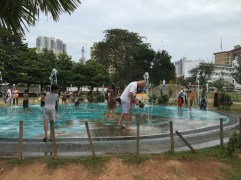 Fountains in a park on a very hot Colombo day