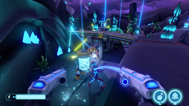 aftercharge, chainsawsome games, 3v3 multiplayer, enforcers, workonics, competitive video games,