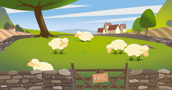Tragedy of the commons illustration of a few sheep on the pasture