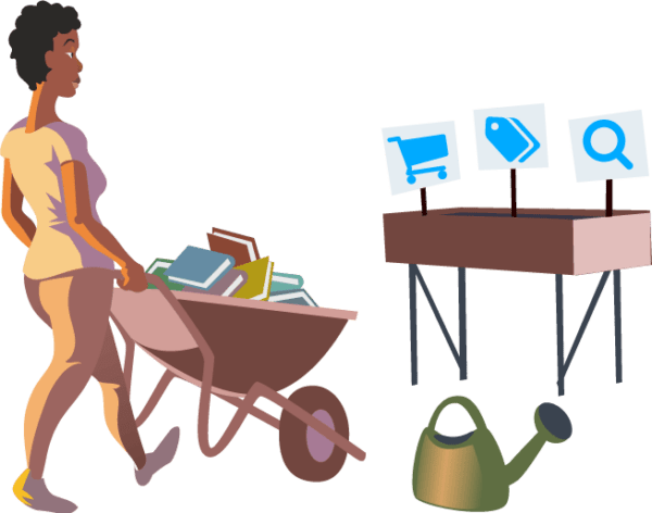 illustration of woman walking with a wheelbarrow full of books