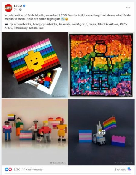 example of social post by LEGO