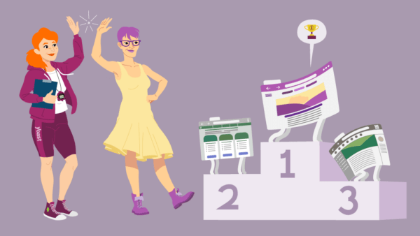 illustration of two people high fiving and a podium with three websites on it