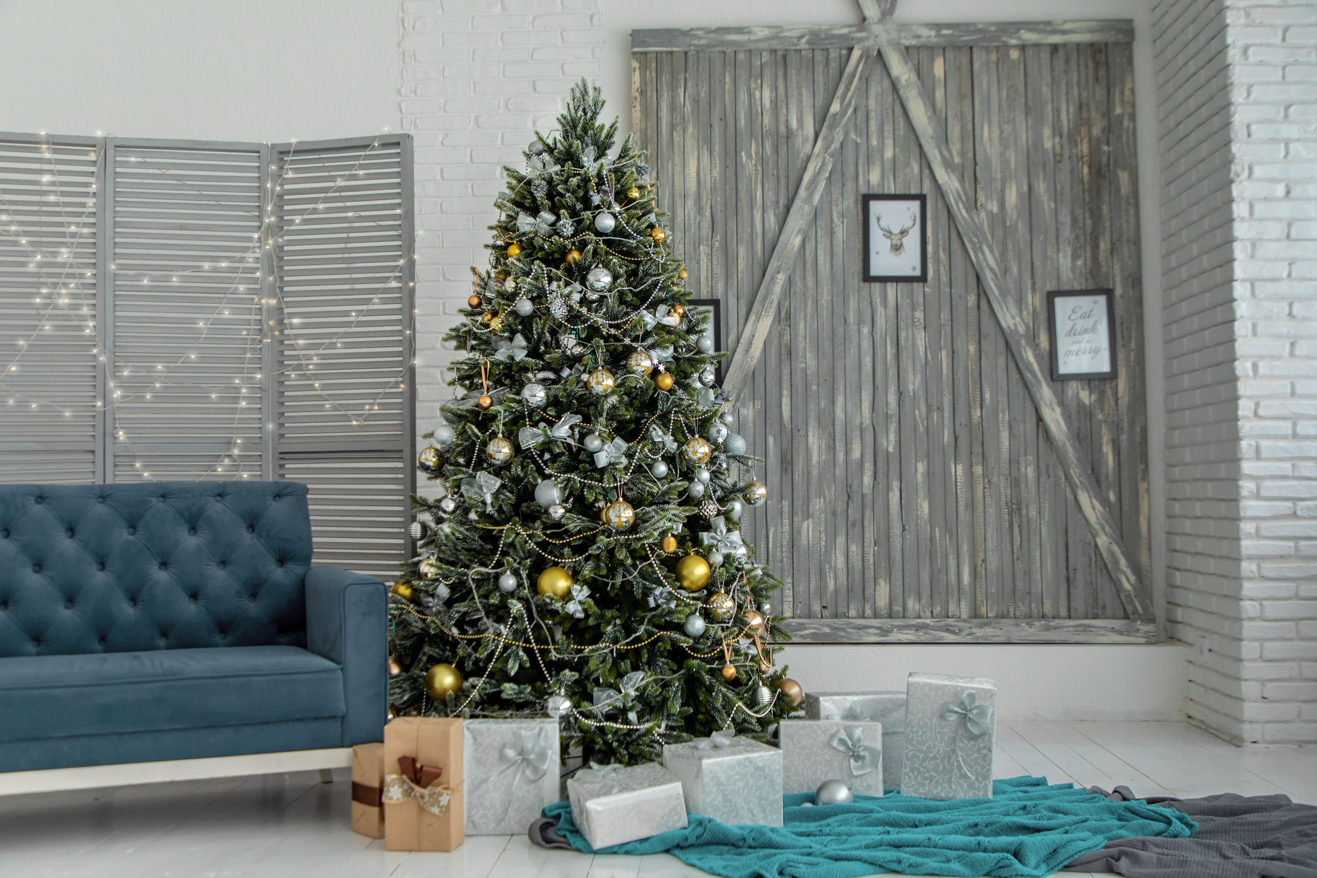 holiday scene with Christmas Tree