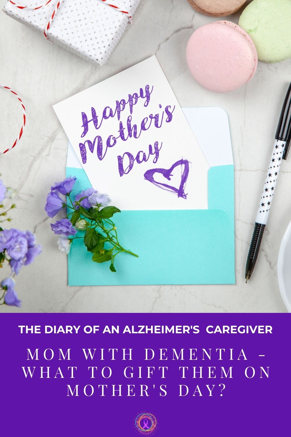 pretty Mother's Day card with violets