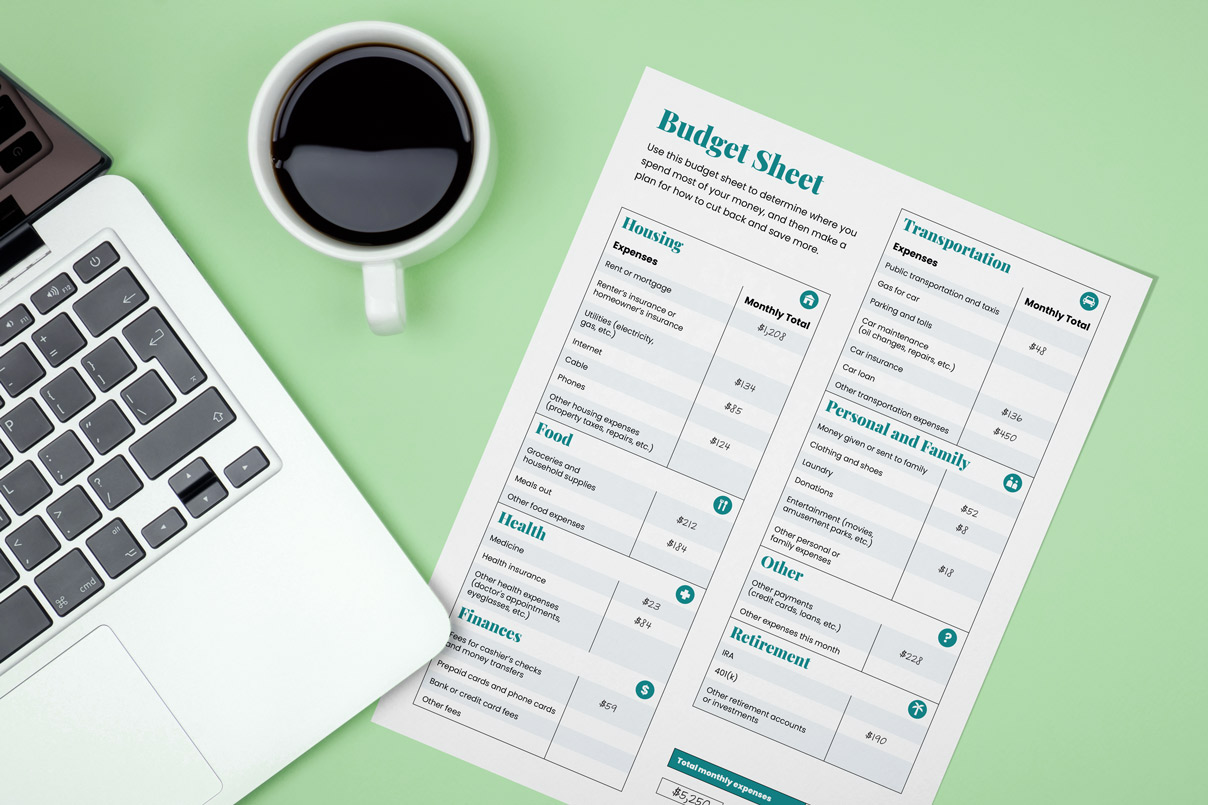 a budget checklist. cup of coffee and a laptop