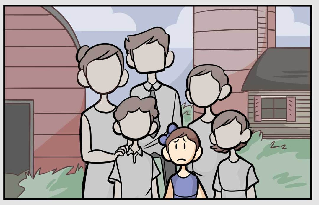 Rachel, her two brothers, and her parents on the farm. It seems peaceful on the outside, but Rachel is frowning.