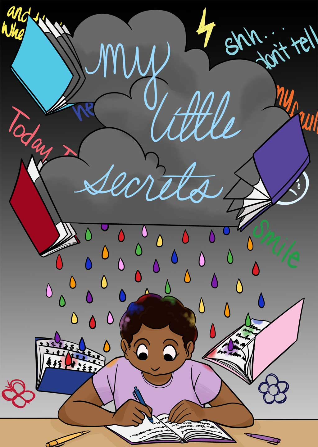 """Storm clouds with the words """"my little secrets"""" hover above Jocelyn. She is writing in her notebooks."""