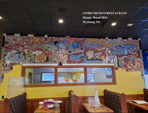 picture PICARDO's mosaic painting in a Mexican restaurant