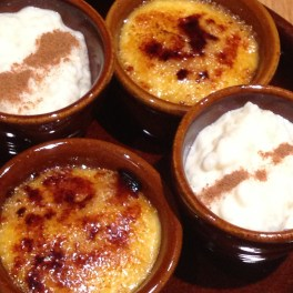 Crema Catalana and rice pudding at Salero Tapas & Bodega