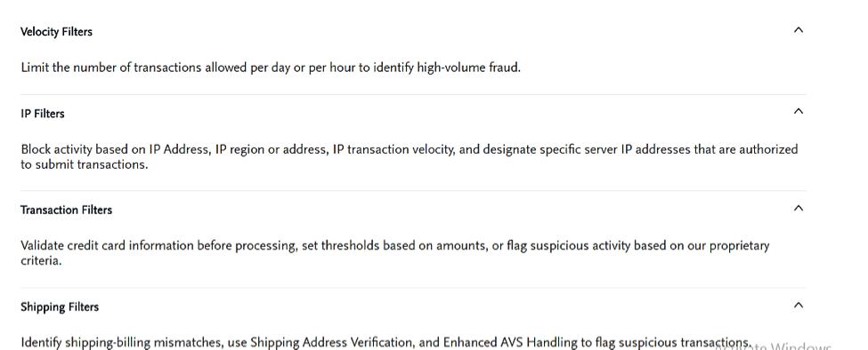 authorize.net features